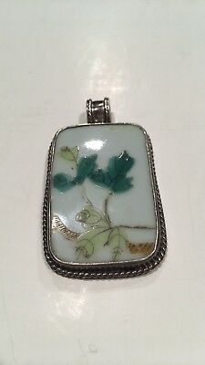 ANTIQUE Vintage  Silver Chinese  PORCELAIN PENDANT