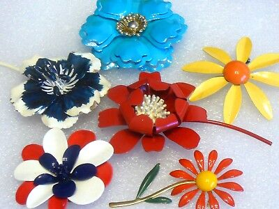 Vintage-Estate Jewelry Lot Of 6 Enamel Flower Power Pin-Brooches-Red/white/blue