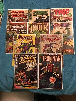 10 Marvel Comics- Silver Surfer #4, Iron Man #1, Avengers #52, Spider-Man #43 ++