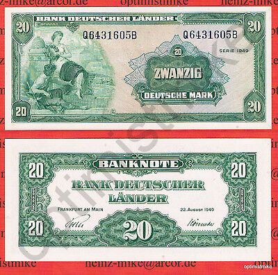 20 DM 1949 Q/B Rarr AU fast Kassenfrisch Ros.260 Pick 17a Germany Deutsche Mark