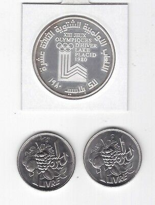 Lebanon Liban - Rare Silver 10 Livres Proof Coin 1980 Year Km#33 Olympic Lake
