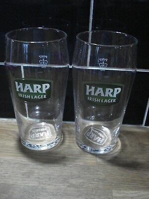 2 X HARP IRISH LAGER CROWN PINT STAMPED GLASSES NEW UNUSED ETCHED LOGO ON BOTTOM