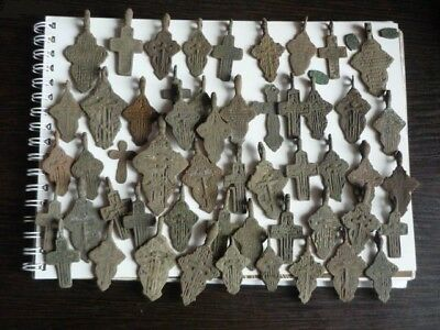 Metal detector finds.Mix lot  ancient crosses (The age of 17-19)53 pieces. N39