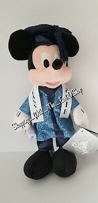 Disney Parks Exclusive Class of 2018 Mickey Mouse Graduation Plush New