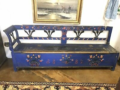 Antique Romanian Hand Painted Storage Bench Dated 1887