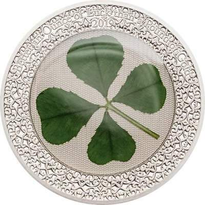 2019 Palau $5 OUNCE OF LUCK - Four-leaf Clover 1oz Silver Proof Coin