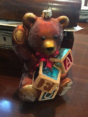 "1997 Christopher Radko FAO Schwartz Bear with Blocks glass ornament 6""h Sugared"