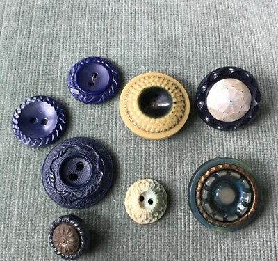 Lot of 8 Vintage Detailed Blue Early Plastic/ Metal Buttons 1.5 -3 cm