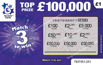 Funny Birthday Card PRANK FAKE Joke Lottery Scratchcards ALL win £50,000 LOL