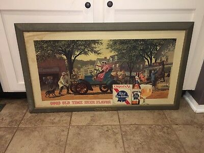 Vintage Pabst Blue Ribbon Lithograph Sign With Hand Crank Automobile