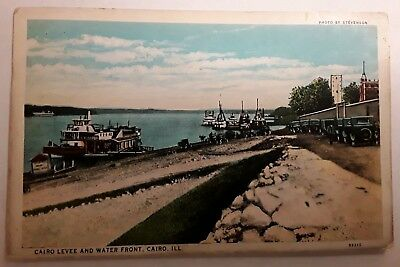Antique POSTCARD 1929 LEVEE WATER FRONT SCENE CAIRO IL ILLINOIS POSTED