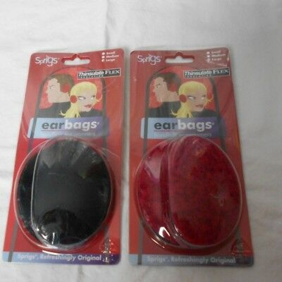 Sprigs Earbags Bandless Ear Warmers with Thinsulate 2 Sets Blk/Red SZ Large New