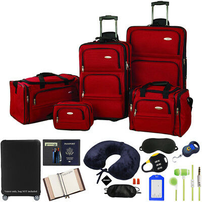 Samsonite 5pc. Nested Luggage Set (Red) w/ Ultimate 10pc luggage Accessory Kit