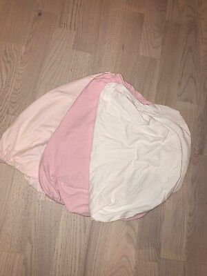 fitted moses basket sheets x 2 Girl Pink Heart
