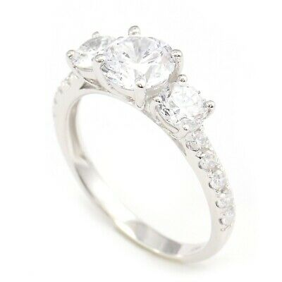2.25 Ct Round Cut Diamond 3-Stone Accents Engagement Wedding Ring 14K White Gold