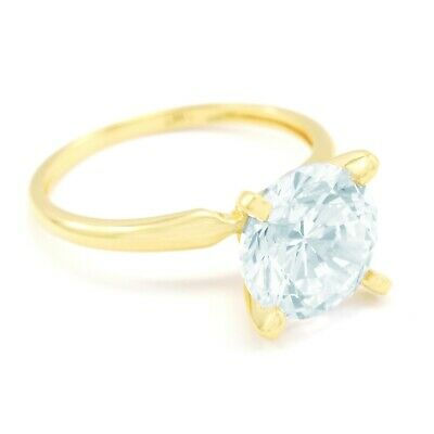 3 Ct Round Cut Solitaire Engagement Promise Ring Real Solid 14K Yellow Gold
