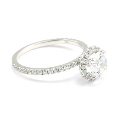 1.5 Ct Round Cut Diamond Halo Engagement Promise Ring Real Solid 14K White Gold