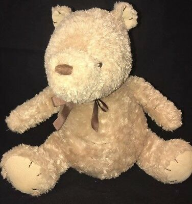 Disney Winnie the Pooh Classic Plush Stuffed Toy Animal Brown Ribbon Large 14""