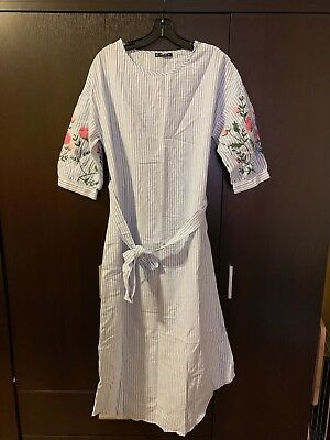 c9e5bb30e6 SHEIN Floral Lace Applique Frill Sleeve Striped Babydoll Dress Size L US  12.