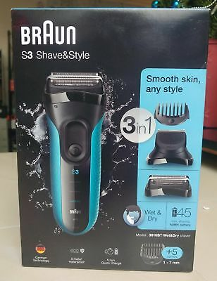 Braun Shave & Style 3010BT 3-in-1 Men's Wet & Dry Electric Shaver, New!