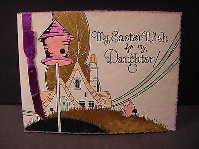 Vintage 1920s EASTER Card:ART DECO Landscape w/Pink Birdhouse,Bird,Lots of Gold