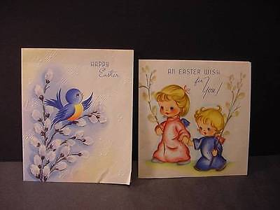 ANGELS + BIRD w/PUSSYWILLOWS EASTER Cards-Vintage 1930s-40s Lot of 2 Folders