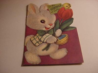 Vintage 1950s EASTER Card MARJORIE COOPER: Flocked Rabbit w/Chick in Tulip