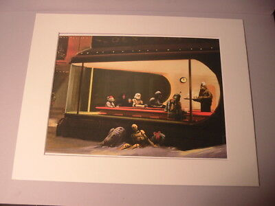 Matted Star Wars Caricatures Depicted in City Diner From 1942 Nighthawks Print
