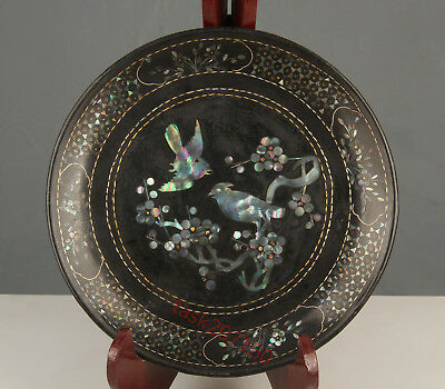 Chinese Exquisite Handmade Flower bird pattern mother-of-pearl lacquerware plate
