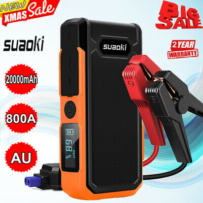 Suaoki 800A 20000mAh Portable Car Jump Starter Auto Battery Booster Power Charge