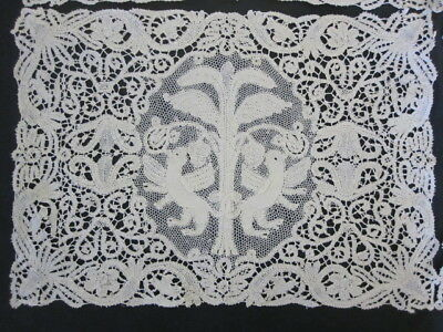 """12 Antique ITALIAN HAND MADE LACE Figural PLACEMATS 11x16"""" Mythical Creatures"""