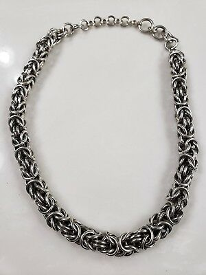 "Vintage Sterling Silver 14 mm  0.5"" Thick Byzantine Chain 17.5"" L 142 g"