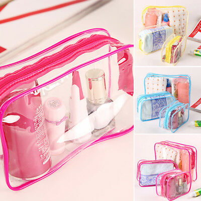 Plastic PVC Travel Cosmetic Make Up Toiletry Bag Pouch Zipper Clear Transparent