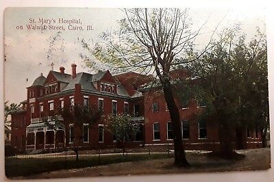 Antique Postcard Cairo Il Illinois St Marys Hospital Building Posted 1917