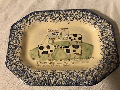 MOLLY & DALLAS 1990 Blue Spongeware Spatterware Mottoware  Cow Platter