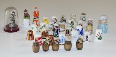 Thimble Collection 33 Pack Multi Hand Painted Porcelain Wood Vintage Collectible
