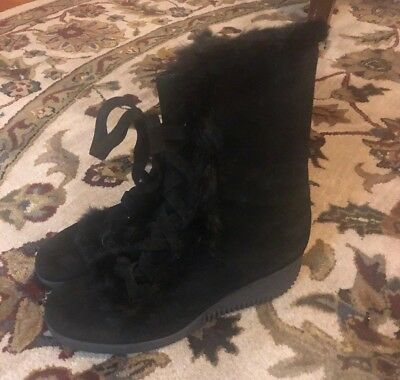 bcd5ca6a2b1e VIA SPIGA Womens Black Suede Wedge Heel Fur Boots Size 9 Made Italy