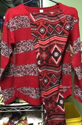 Red Sweater & Coordinated Leggings Outfit/Lot-Great for Xmas! No Boundaries, M