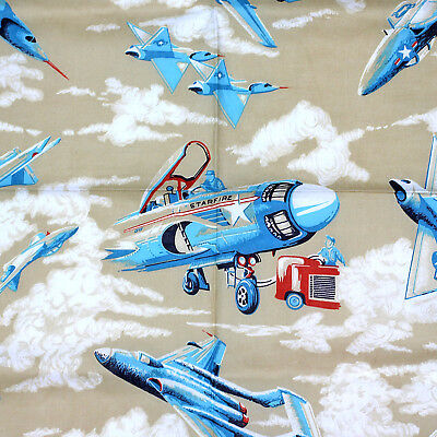 Boeing Air Show WWII Airplane Bomber B25 Mitchell Fabric by the 1//2 Yrd #4284-33