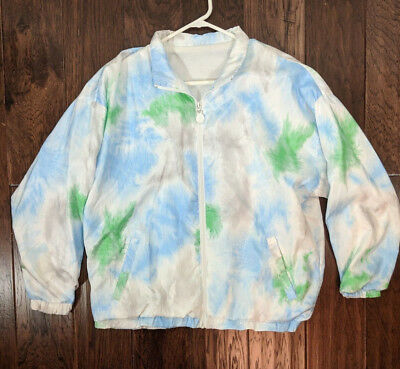 Vintage 80s Adidas Track Jacket Women's Sz M Lined White Full Zip Blue Green
