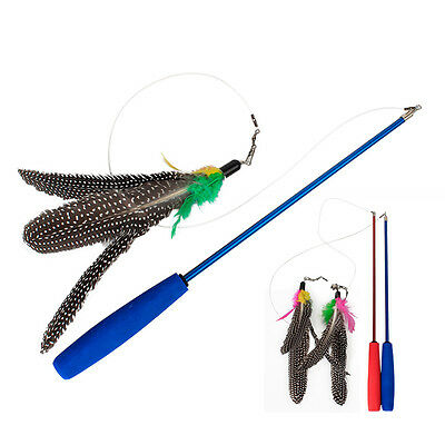1 X cat play retractable feather teaser three section pets cat toy random colorL