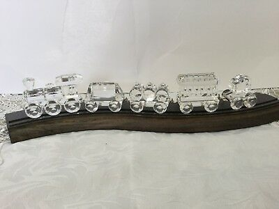 Swarovski Crystal Locomotive And 4 Train Carriages - Perfect Set On Track - Rare