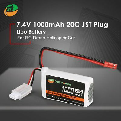 XF POWER 7.4V 1000mAh 20C 2S Lipo Battery JST Plug For RC Drone Helicopter CarMU