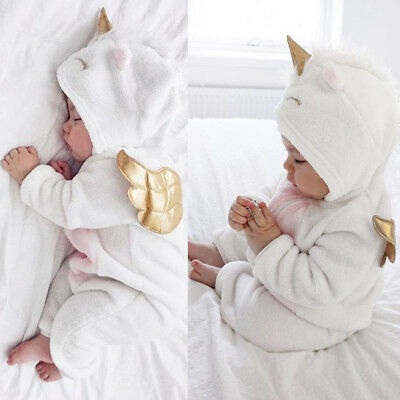 Newborn Baby Boy Girl Hooded Romper Jumpsuit Bodysuit Outfits Clothes 0-24 M