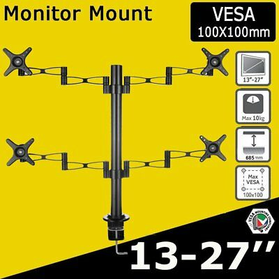 HD LED LCD Desk Mount Monitor Stand 4 Arm Display Bracket LCD Screen TV Holder