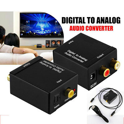 Digital to Analogue Audio Converter Coaxial Coax Optical Toslink L/R RCA Adapter