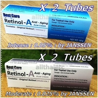 Original Retinal Vitamin - A Cream Authentic RetinA : 1 or 2 Tubes X 10 g.
