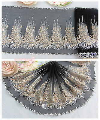"7.5""*1Y Embroidered Tulle Lace Trim~Black+White+Gold Beige~Swan Dance~SALE~"