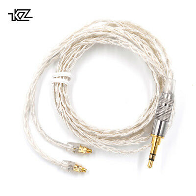 3.5mm KZ MMCX Braded Silver Upgrade Cable Wire Earphone Audio Replacement Line