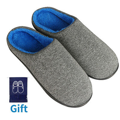 Men's Slippers Memory Foam Slippers Cozy Anti-Slip House Shoes with TPR Sole